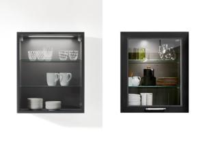 Küchenvitrine in Schwarzglas und Klarglas