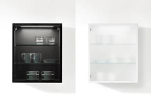 Küchenvitrine in Grauglas und Mattglas